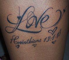 love life tattoo with birds | ... love script tattoo flowers and corinthians love text tattoo