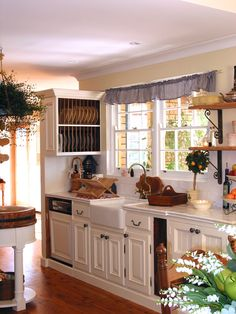 Kitchen. Cheerful French Country Kitchen With A Couple Of Frame Glass Windows Faced Faucet And White Cabinets: Exquisite French Country Kitc...