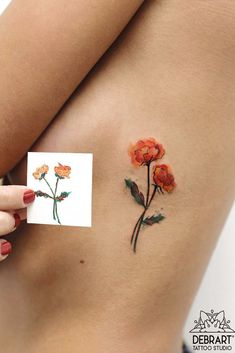 Red Flowers Tattoo Design For Side Body #flowertattoo ★ Discover minimalist tattoo ideas for women. Pick a tiny tattoo that is true to your nature. Get one on your finger, arm, wrist, side body, leg, etc. ★ See more: https://glaminati.com/minimalist-tattoo-designs/ #minimalisttattoo #minimalisttattoostyle #minimalist #minimalisttattoos #glaminati #lifestyle Tattos
