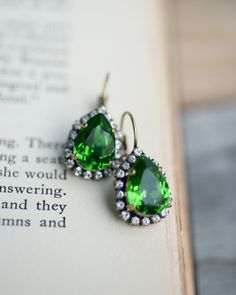 Emerald Estate Style Vintage Earrings Wedding by NotOneSparrow