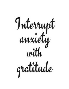 Get the free printable coloring page plus a black and white printable. Print it out, take a coloring break. Color the words, absorb the message. Interrupt anxiety with gratitude.