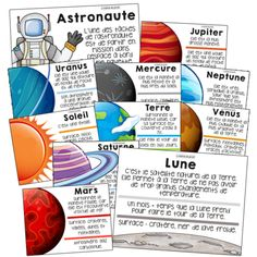 20 posters on the solar system: planets and space - - primaire Planets Activities, Constellation, Solar System Projects, Magic Birthday, Solar System Planets, Core French, French Classroom, French Resources, Space Party