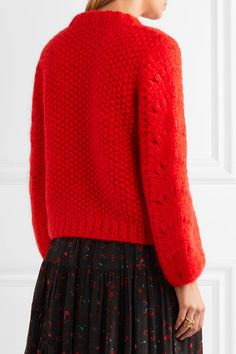 Red mohair and wool-blend Slips on 50% mohair, 50% wool Dry clean Made in Italy