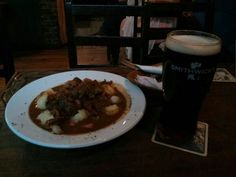 Irish Guinness stew with a pint of Smithwick's at Gibney's, Malahide