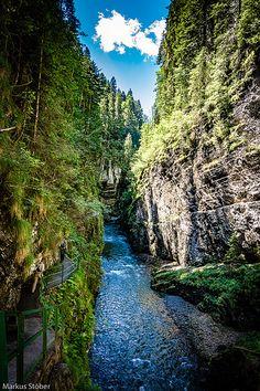 How the Breitach flows through the Breitachklamm Mountain Landscape, Lakes, Waterfall, River, Explore, Outdoor, Outdoors, Waterfalls, Outdoor Games