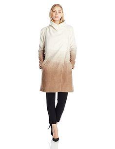BB Dakota Women's Emerson Ombre Fuzzy Wool Coat, Churro, Medium