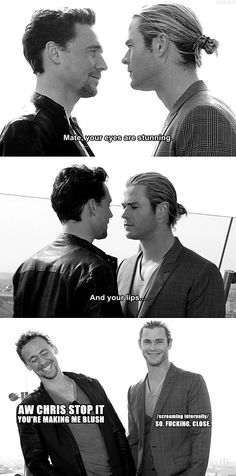 So Close. Tom Hiddleston and Chris Hemsworth