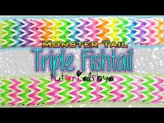 Monster Tail TRIPLE FISHTAIL Bracelet. Designed and loomed by TutorialsbyA. Click photo for YouTube tutorial. 05/10/14 Rainbow Loom Tutorials, Rainbow Loom Patterns, Rainbow Loom Creations, Rainbow Loom Bands, Rainbow Loom Bracelets, Loom Love, Fun Loom, Loombands Tutorial, Monster Tail Bracelets