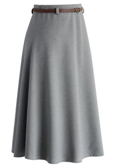 Classy Chic Wool-blend A-line Midi Skirt in Grey - Skirt - Bottoms - Retro, Indie and Unique Fashion