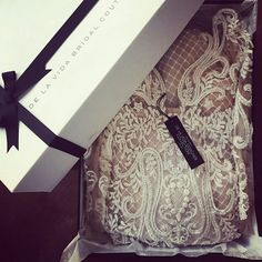"""Designer bespoke wedding gown made and packaged with love. """"The most beautiful cosmetic you can have is passion"""" and we are passionate about everything we do. #delavida #delavidabride #bespoke #fashion #couture"""