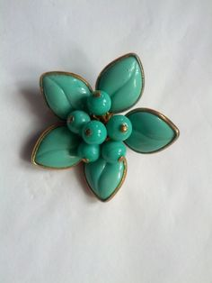 Vintage 50s Turqouise Blue Floral Cluster Brooch Pin from VansVintageTreasures, $48.00