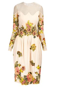 Pale pink floral applique work dress available only at Pernia's Pop-Up Shop.