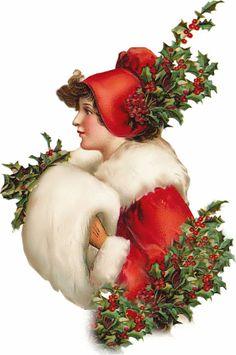 Victorian Christmas Lady Die Cut