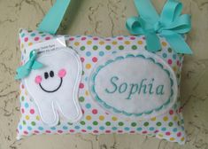 Tooth Fairy Pillow Polka Dots Aqua Personalized by Mimisartistree, $12.95