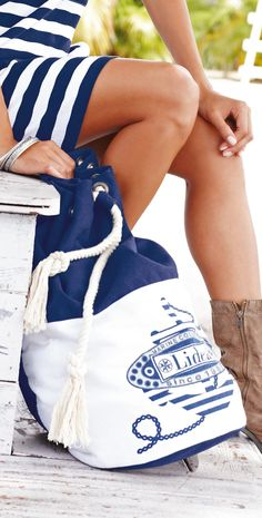 This Lidea 2014 Nautic Journey Duffel Bag is a round upright duffle shaped bag with duel, adjustable backpack straps. This duffle bag has a thick rope drawstring at the top with a zipper pocket inside. Nautical Looks, Nautical Stripes, Nautical Style, Coastal Style, Blue Stripes, Les Hamptons, Bikini, Summer Colors, Summer Blues