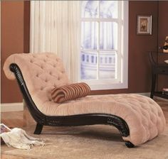 Amazon.com - Coaster Chaise Lounge with Tufted Beige Fabric Black Wood Base - Tantric Chair