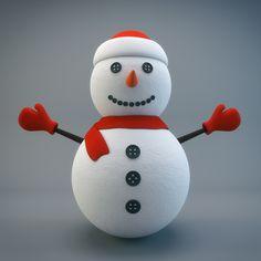 Cartoon Snowman - 3D GALAXY