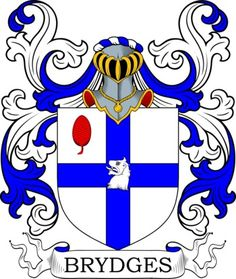 The four main devices (symbols) in the Bridges blazon are the  water bouget, griffin head, cross and fretty. The three main tinctures (colors) are  azure, or and ermine . Azure is the heraldic colour blue, usually quite a deep, dark shade of the colour (there is a lighter blue that sometimes