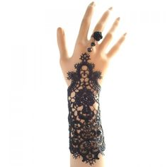 Chic Openwork Lace Flower Beads Bracelet With Ring For Women, AS THE PICTURE in…