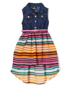 Dark Blue & Pink Stripes Denim Sleeveless Dress - Toddler & Girls