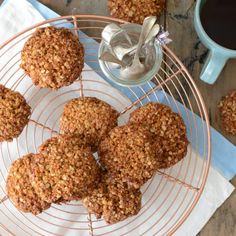 I have fond memories of making Anzac biscuits with my Nan – the dough tasted so good, about half of it would never make it to being baked into biscuits! Energy and fibre dense, and able to store for long … Continued Gf Recipes, Real Food Recipes, Baking Recipes, Dessert Recipes, Yummy Food, Healthy Recipes, Recipies, Tasty, Desserts