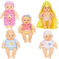 """Your little one can see what it's like to care for quintuplets with the You & Me So Many Babies Doll Set 5-Pack in Caucasian, which features five sweet, posable baby dolls made of soft plastic and dressed in cute outfits. One of the babies is just coming out of the bathtub and is wearing a fuzzy hooded bath towel. With these 9"""" dolls, your child can learn about child care. <br><br>You & Me baby dolls, baby doll clothes and accessories let children be children whil..."""