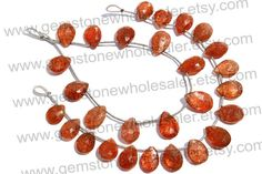 Sunstone Faceted Pear Quality AA / 18 cm / by GemstoneWholesaler