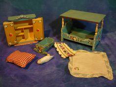 Vintage 50s Dora Kuhn Germany Bavaria Doll House Dollhouse Blue Canopy Bedroom | eBay