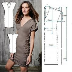 Mis puntadas preferidas: Moldes para vestidos sencillos Sewing Patterns Free, Clothing Patterns, Dress Patterns, Sewing Clothes, Diy Clothes, Clothes For Women, Fashion Sewing, Diy Fashion, Make Your Own Clothes