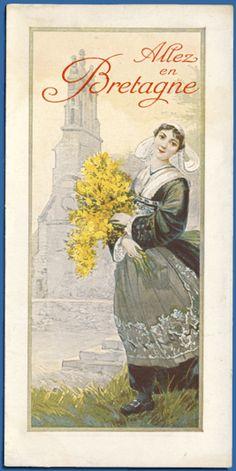 """A vintage poster promoting Brittany. """"Allez en Bretagne.""""   (Visit Brittany.)"""