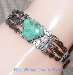 Vintage Bell Trading Post Era Sterling Turquoise Cuff Bracelet Stamp Work Eagle #Cuff