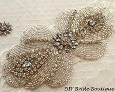 Rhinestone applique ART DECO couture crystal applique