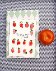 Handmade postcard 'Tomato' with seeds door XantheCS op Etsy