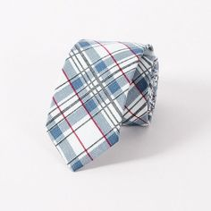 Men's Gingham Plaid Neck Ties Fashion Handmade 100% Cotton Skinny Floral Tie For Men