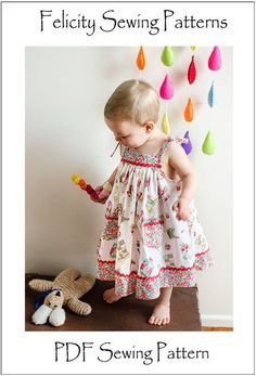 Daisy Sun Dress PDF Sewing Pattern and Tutorial by Felicity Patterns. Baby Girls Dress Pattern. Children's Sewing Pattern. Toddler Pattern.