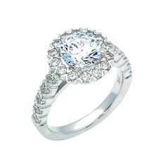 Diamond Halo Engagement Ring Setting - The Diamond Guys Collection Center Diamond Cut: Round Cut  Side Diamonds: 24 (weight = 1.02ct)