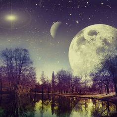 Paradise discovered by Jovana Milanovic on We Heart It #inspiration #lake #moon #star #moonlight #moon #amazing #night #paradise #stars #FF #followback #instafollow #L4L