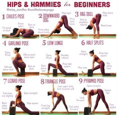 Hips and hamstrings yoga for beginners. Before you do your usual hamstring workout, loosen up your body with back flexibility exercises, hip mobility stretches, and calf stretches–you'll probably notice that you have ...