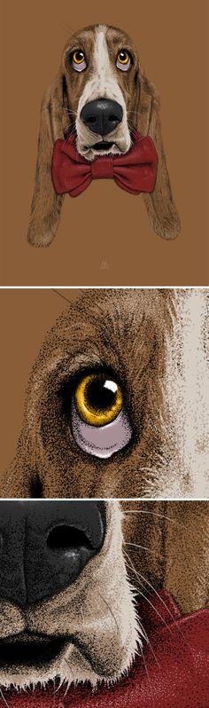 By Céline Mazzilli  #dog #node #art #illustration #graphic #design #points #dot