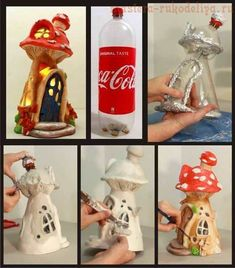 I recycled some Coke plastic bottles into a fairy house lamp. Materials used: plastic bottles, tin foil, paint, hot glue and paper clay.Make a fairy house out of an old bath and body works 3 wick Clay Projects, Clay Crafts, Kids Crafts, Diy And Crafts, Clay Fairy House, Fairy Houses, Garden Houses, Bottle House, Bottle Bottle