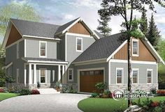 Traditional country house plan offering 4 large bedrooms, 2 family rooms, home office and a double garage! The the floor plans of this model + a Mediterranean version here : http://www.drummondhouseplans.com/house-plan-detail/info/1002999.html (no. 3855-V1)