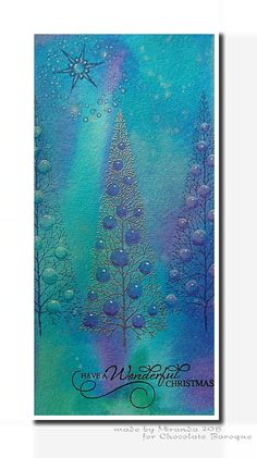 Hi there,     Today I will show you what I have created with one of the new Christmas stamps, Sparkling Trees . Again on a background wh...