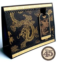 handmade card .. Asian theme ... Graphic45_NBattilana_Birdsong_Belt_Cards_2of8 ... luv the gorgeous paper ... tent format ... black with golden dragon ...