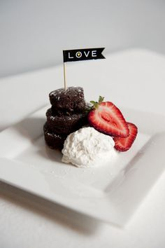 Chocolate, strawberries, and whip cream for LOVE