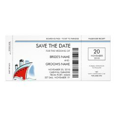 Cruise Ship Save the Date Invitations. OMG, I LOVE this.