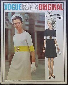 VTG 1968 VOGUE PARIS ORIGINAL LANVIN MISSES' DRESS ORIGINAL PATTERN 1910 SZ 14   eBay