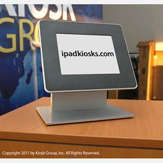 This durable countertop kiosk enclosure is designed to secure and display Apple's iPad tablets for public use. Digital Signage, Digital Kiosk, Coffee Shop Counter, Library Design, Library Ideas, Kiosk Design, Protective Packaging, Ipad Stand, Learning Spaces