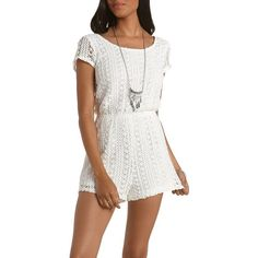 Charlotte Russe White Crochet Tie-Back Romper by Charlotte Russe at... ($12) ❤ liked on Polyvore featuring jumpsuits, rompers, dresses, white, white romper, open back rompers, short sleeve romper, open back romper and white rompers