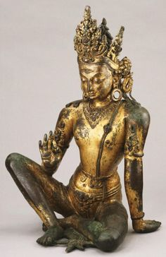 Indra, King of the Gods' Heaven Artist/maker unknown, Nepalese Geography: Made in Nepal, Asia Period: Malla Dynasty (1200-1769) Date: c. 1200 Medium: Mercury-gilded copper alloy with spinel rubies, rock crystal, and turquoise Philadelphia Museum of Art