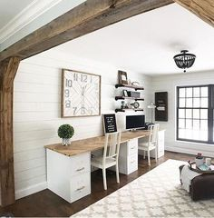 I'd love to redo our home office something like this. - I'd love to redo our home office something like this. I'd love to redo our home office something like this. Loft Office, Home Office Space, Home Office Design, Home Office Decor, Home Decor, Office Ideas, Office Setup, Rustic Office Decor, Office Designs